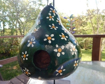 Gourd Birdhouse Green with Daisy Design