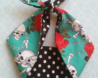 black polka dot  blue skull rose bandana, rockabilly pin up psychobilly tattoo hairband headband