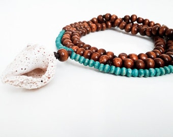 108 Mala Handmade Necklace with Up-Cycled Turquoise Wooden Beads and Natural Sea Shell