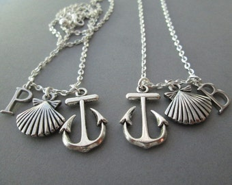 2 Seashell, Anchor/ Initial Necklace (Set)