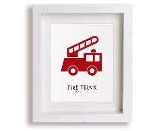 NEW Fire Truck Nursery Art Print - Baby Boy Bedroom, Emergency Trucks, Children's Decor, Baby Nursery, Kids Wall Art, Playroom, Toddler Room