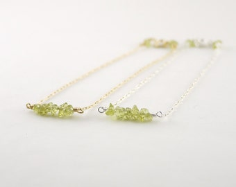 Tiny gemstone bar bracelet - green peridot chip beads - sterling silver gold - delicate dainty illusy