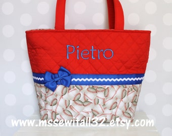 XL Red / Blue Baseball Quilted Purse / Tote / Diaper Bag