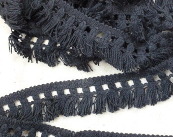 Destash Old Stock Vintage Black Soft 1970 Fringe Trim