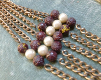 Chain Destash 6 Strands Old Heavy Patina Thick Chain with Old Czech Carved Glass Rose Beads and Pearls