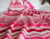 Chevron stripe blanket - pink and white - handmade crochet - childs bed blanket