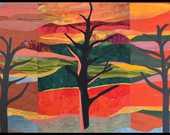 Landscape, trees, fabric, paper, paint, collage, contemporary, modern