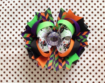 Ready To Ship Hairbow! Halloween Hairbow, Black Spider Hairbow, Fall Hairbow, Halloween Boutique Hairbow, Girls Hairbow