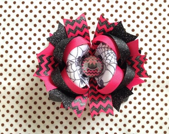 Ready To Ship Hairbow! Halloween Hairbow, Pink And Black Chevron Black Spider Hairbow, Fall Hairbow, Halloween Boutique Hairbow