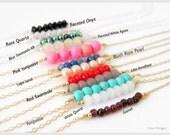 Bar Gemstone Necklace, Minimal Necklace, Boho Necklace, Layering Necklace,  Personalized Necklace, Bridesmaids Gift