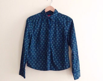 Vintage Blue & Green Floral Blouse / Jewel Button Shirt / Teal Flower Print Button Down Top / Hipster Blouse