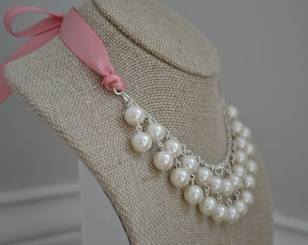 Penelope: Double Drop Pearl Bib Necklace - Ivory Pearls and Dusty Rose / Pink Ribbon & Bow