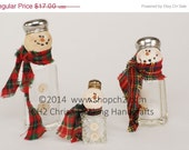 Christmas in July SALE Salt Shaker Snowman, Snowman, Snowmen, Recycled Snowman