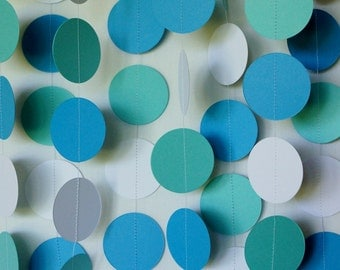 TEAL, BLUE & WHITE Garland, Baby Shower, Wedding Decoration, Bridal Shower Decor, Birthday Party Decoration, Paper Circle Garland, 10 ft.
