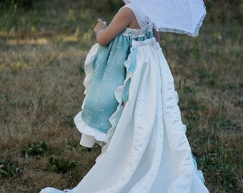 CLEARANCE!!! Flower Girl Tea Party Dress with detachable train size 2T