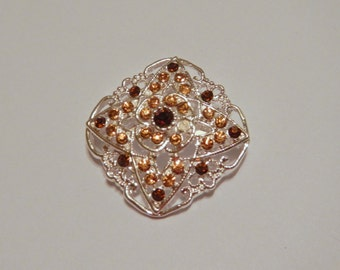 Brown Filigree Magnetic Brooch Acrylic Rhinestone Sash Pin Pageant or Portuguese Knitting Pin in Silver