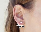 ear jackets, silver ear jackets, minimal earrings, geometric earrings, gold ear jackets.
