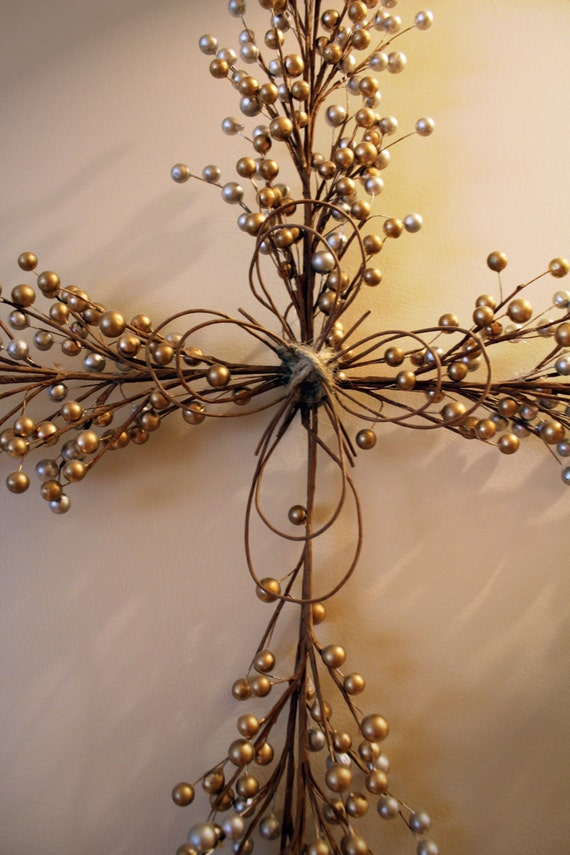 Silver gold wall art cross wall decor home decor for Cross decorations for home