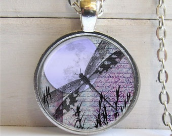 Dragonfly Pendant, Dragonfly Moon Art Pendant, Whimsical Silver And Glass Dragonfly Necklace