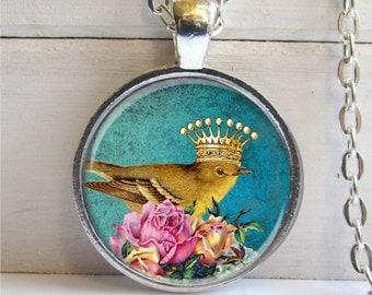Bird Pendant, Bird With Crown Necklace, Art Pendant, Bird Jewelry