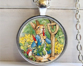 Benjamin Bunny Pendant, Bunny Necklace, Silver and Glass Bunny Charm Necklace