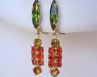 Rhinestone Dangle Earrings Vintage Olive Green Shades of Orange Topaz Prong Set Marquise Cut Faceted Stones Gold Tone Metal Clip On Dazzling