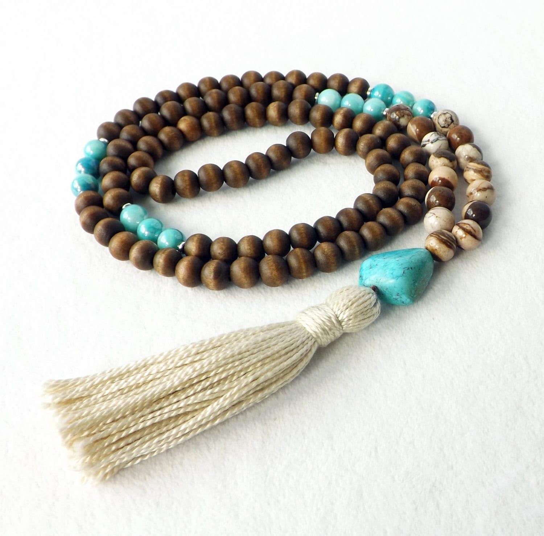 Yoga Beads: Mala Necklace 108 Bead Necklace Yoga Necklace Tibetan
