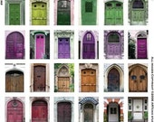 36 ANTIQUE DOORS - Bright Colors  -  INSTANT Printable Digital Collage Sheet