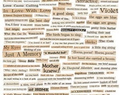 100+ VINTAGE WORDS - Tell Me More - Instant Printable Digital Collage Sheet