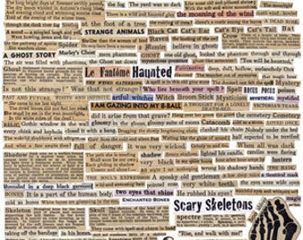 100+ HALLOWEEN VINTAGE WORDS - Tell Me A Scary Story - Instant Printable Digital Collage Sheet