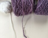 Organic natural dyed hand-spun cotton yarn: large sized / purple color (2 rolls)