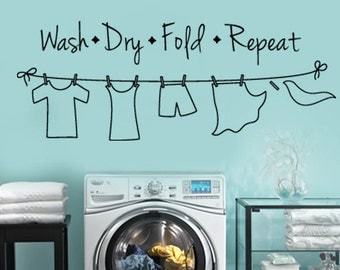 Wash - Dry - Fold - Repeat LAUNDRY Room Clothes Line VInyl Wall Lettering Decal Large Size Options