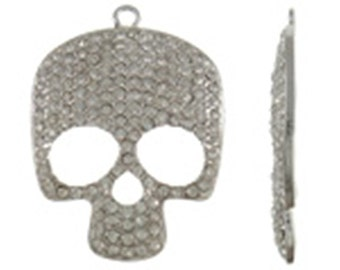 1pc 52x38mm antique silver alloy with rhinestone skull pendant--9918