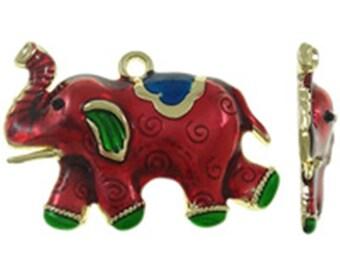 1pc 57x48.5mm zinc alloy enamel elephant pendant-10021