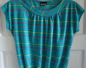 Vintage 80s Striped Knit Womens Top Cap Sleeves sz S