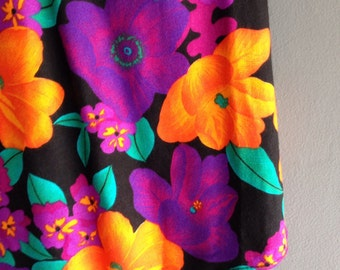 Tropical Print Soft cotton 80s Midi Skirt