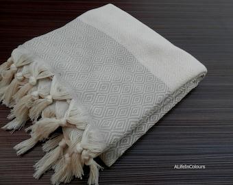 Bright beige colour Turkish peshtemal soft cotton bath towel, beach towel, travel towel, spa towel.