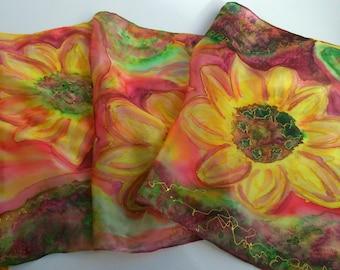Fall Flowers Hand Painted Silk Scarf for Ladies. Designer Scarf. Orange, Yellow, Terracota, Green. OOAK Artwork 14 x 51 in. Scarf Sunflowers