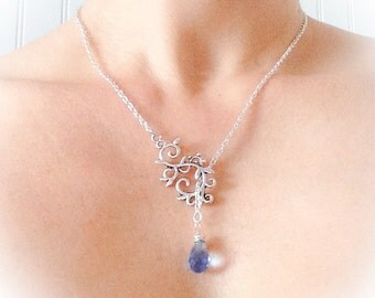 Scroll Slider Necklace Silver Plate Bridal Crystal Pendant Something Blue