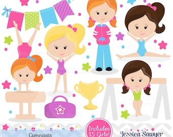 INSTANT DOWNLOAD, Gymnastics Clipart clip art, girls little tumbler clipart, tumbling graphics for invitations