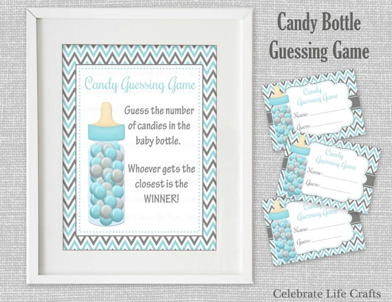 Baby Shower Printable Game   Candy Bottle Guessing Game Sign And Tags    Aqua Gray Little Man Shower Candy Jar Game   Baby Boy B002