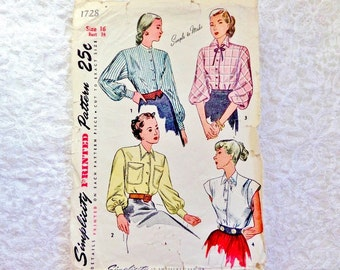 Vintage Simplicity Blouse Pattern 1728 Size 16 From 1946