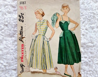 Vintage Simplicity Sundress Pattern 3187 Size 16 Dress and Jacket 1950