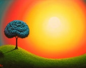 Large Art Print, Whimsical Wall Art Print of Blue Tree Sunset Landscape Painting, Surreal Art Print, Tree Painting, Colorful Dreamscape