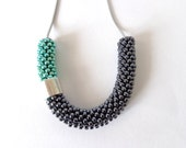 Mint necklace/Rope Jewelry/Minimalist necklace/Beaded jewel/Steel Necklace/Pastel necklace/Crocheted accessories/Color Block Jewelry