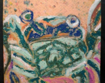 "sale 4""x4"" RAW CRAB original kimartist crabby ocean folk naive outsider primitive sea shell fish blue green pink yellow white sfa tile ooak"
