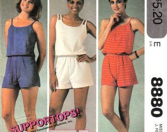 Misses Jumpsuit, Romper, All-in-One Shorts with Built in Bra McCall's 8880 Size Large, 18 - 20