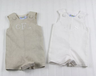 Monogrammed Easter Outfit- Linen Jon Jon for Baby Boy- Perfect for Easter, Weddings, First Birthday, Christening Outfit, or Beach Photos