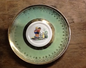 Vintage Saucer with Adorable Children