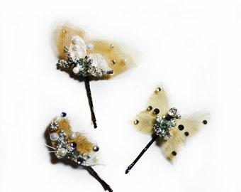 Organza Butterfly Hair Pins, Butterflies Bobby Pins, Crystal Butterfly Wedding Hair Accessories